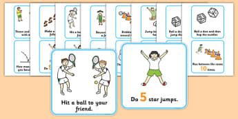 Outdoor Activity Cards - Outdoor activity, outdoor games, outdoor cards, outdoor classroom, outdoor learning, ball game, PE, exercise, star jumps, outdoor equipment, bean bag, hoop, ball