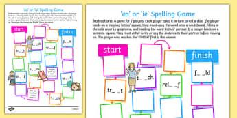 ea or ie Spelling Board Game - spelling, board, game, ea, ie