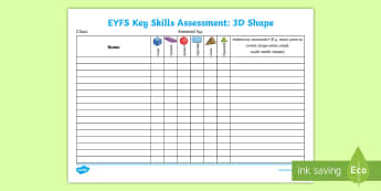 EYFS Key Skills Assessment 3D Shape Assessment Tracker - space and measure, SSM, mathematics, maths, cone, cube, sphere, cuboid, cube, Early years assessment