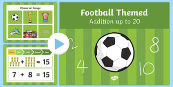 Football Themed Addition to 20 PowerPoint - football, addition, 20, powerpoint