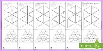 Solving Equations: Tarsia Triangular Dominoes Resource Pack - sorting, algebra, linear, quadratic,variables, brackets, fractions, factorising, quadratic formula,
