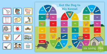 Mixed CVC Get the Dog to His Kennel Board Game - Station Teaching, Listening skills, speaking skills, pair work, sounding out,Irish