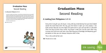 Graduation Mass Second Reading Print-Out - graduation, mass, ceremony, second, bible story, reading,Irish