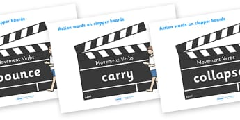 Action Words Verbs (on Clapper Boards) - action words, verbs, type of word, movement words, action, dance, drive, run, mover, clapper boards, on, fall, jump, kick