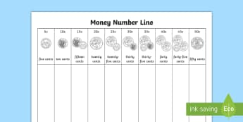 Coin (5c-50c) Money Number Line - Australian money, five cents, fifty cents, silver coins, counting coins, coin recognition, addition