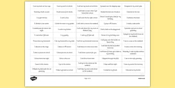 Simple Verbs Past, Present and Future Sorting Examples in Sentences