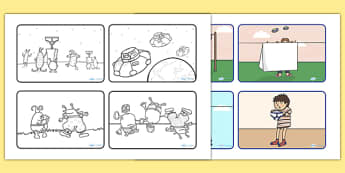 Story Sequencing (4 per A4) to Support Teaching on Aliens Love Underpants - aliens, woolly, long johns, Claire Freedman, space ship, underpants, sequencing, story sequencing, story resources, A4, cards, story book, book, book resources, story, bloome