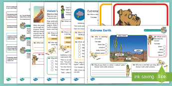 KS1 Extreme Earth: Focused Reading Skills Comprehension Pack - Year 1, Year 2, comprehension, understanding, reading dogs, SATs style questions, content domains