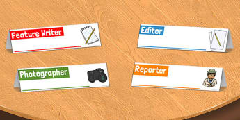 Newspaper Office Role Play Desk Cards - newspaper, role-play