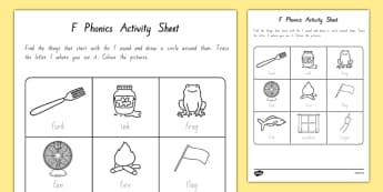 f Phonics Activity Sheet - nz, new zealand, f, phonics, activity, activity sheet, worksheet