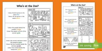Who's at the Zoo? Spatial Awareness Activity Sheet - exploring, my, world, aistear, story, animals, tiger, elephant, monkey, penguin, crocodile, literacy