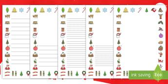 圣诞节主题写作边框模板 - 圣诞节,写作,写作模板,节日,庆典