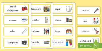 Classroom Word Cards - classroom, word cards, class, room, cards, vocabulary, supplies