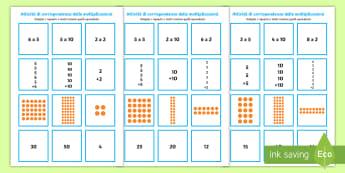 Moltiplicazioni 2 5 e 10 puzzle Attività - moltiplicazioni, corrispondenza, equivalenza, 2, 5, 10, puzzle, attvita, amtematica, calcoli, deci,