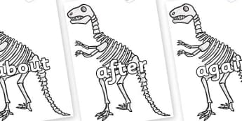KS1 Keywords on Dinosaur Skeletons - KS1, CLL, Communication language and literacy, Display, Key words, high frequency words, foundation stage literacy, DfES Letters and Sounds, Letters and Sounds, spelling
