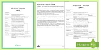 Writing Non-Fiction: Speech Exemplar Resource Pack  - General Secondary English Resources, non-fiction texts, exemplars, speech.