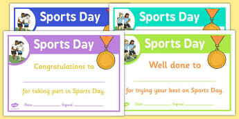 Sports Day Certificate Template - sports day, effort, certificates, template