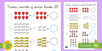 Ficha de actividad: Traza, cuenta y suma hasta 20 - El transporte - sumar, adición sumas, mates, matemáticas, transporte, ficha, 20, a 20, números, trazar, motricida