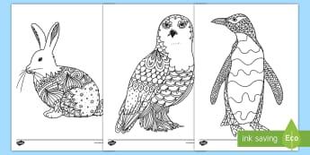 Polar Animals Mindfulness Coloring Activity Sheets - polar animals, color, coloring, Arctic, art, worksheets