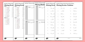 KS1 Arithmetic Content Practice Missing Number Calculations Activity Sheet Pack - Maths, KS1, Key Stage 1, Arithmetic, Number bonds, addition, subtraction, facts, missing number, worksheet