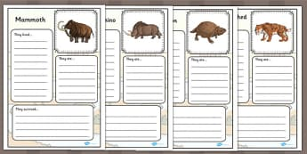 Prehistoric Beasts Fact file Worksheets - prehistoric, fact file