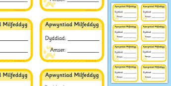 Veterinary Surgery Appointment Cards - welsh, Vets, vet, vet role play, pet, pets, pet appointment, appointments, cards, card, animal information, vet, operation, xray, nurse, medicine, vaccine, bandage, cat, dog, rabbit