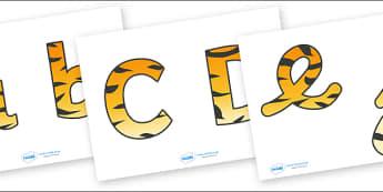 Display Lettering & Symbols (Tiger Print) - Display lettering, jungle, rainforest, display letters, alphabet display, letters to cut out, letters for displays, coloured letters, coloured display, coloured alphabet