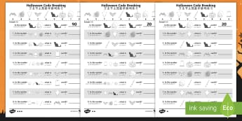 Halloween Themed Place Value Code Breaking Activity Pack English/Mandarin Chinese -  EAL, halloween, code break, place value, hundreds, tens, units, ones, digit, digits