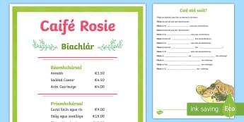 Menu Role-Play Activity Sheet (Biachlár - Cad atá uait? Comhrá Beirte) Gaeilge - Biachlár, Bia, cad, atá, uait, comhrá, beirte,Irish