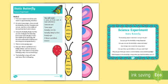 EYFS Static Butterfly Science Experiment and Prompt Card Pack - Butterfly, EYFS