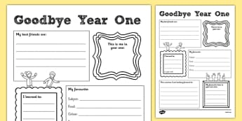 Goodbye Year One Writing Frame - goodbye, year 1, year one, writing frame, writing, frame
