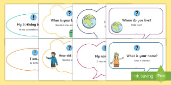 Basic Phrase Posters English/Portuguese - A4 posters, basic questions and answers, eal