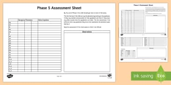 Phase 5 Phonics Letters and Sounds Assessment Sheets - phase 5, letters and sounds, DFE, phonics assessment, letters and sounds assessment, phase 5 anaylsis sheet, literacy, phonics, planning and assessment, checklists