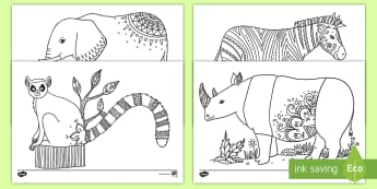 Zoo Mindfulness Coloring Activity - zoo, animals, color, coloring, activity, art, mindfulness