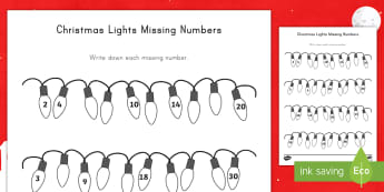 Christmas Lights Missing Numbers Counting in 2s, 3s, 5s and 10s Activity Sheet - Christmas, lights, missing numbers, numeracy, activity sheet, worksheet