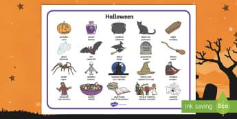 Halloween Word Mat English/Italian  - visual aid, ks1, ks2, key stage 1, key stage 2 ,EAL, Halloween