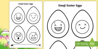 Emoji Easter Egg Colouring Page - easter, easter eggs, emoji, colouring, colouring sheets, fine motor skill, moji