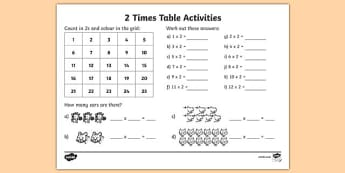 2 Times Table Activity Sheet - 2 times tables, counting 2s, 2s, 2, two times table, multiplication, multiplying by 2, times tables, multiplication tables, ks2, worksheet, times table
