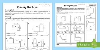 Finding the Area Activity Sheet - amazing fact august, area, compound, rectilinear, shape, find the area, worksheet