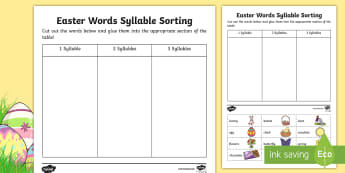 Easter Syllables Sort and Stick Activity Sheet - Canada Easter, easter, syllables, words, vocabulary, holiday, bunny, rabbit, bunny rabbit, counting,