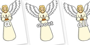 100 High Frequency Words on Angels - High frequency words, hfw, DfES Letters and Sounds, Letters and Sounds, display words