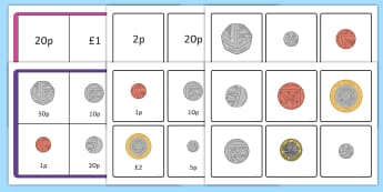 Money Coin Recognition Matching Bingo Game - money, coin, recognition, matching, match, bingo, game, activity