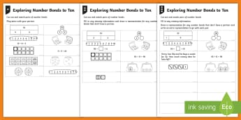 Exploring Number Bonds to Ten Differentiated Activity Sheets - Addition and Subtraction, take away, work methodically, represent, bar model, part-whole diagram, de
