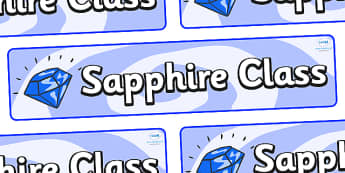 Sapphire Themed Classroom Display Banner - Themed banner, banner, display banner, Classroom labels, Area labels, Poster, Display, Areas