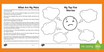 My Main Worries Activity Sheet  - young people, families, PSHCE, emotions, transition, change, worksheet