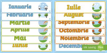 Lunie anului Pachet de bannere - lunile anului, decorul clasei, activități, panoul clasei, activități lunare,Romanian