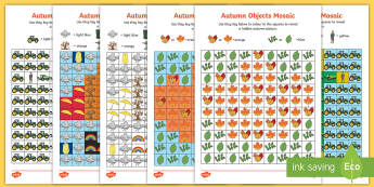 Autumn Mosaic Images Activity Sheets - autumn, mosaic, colouring, activity sheets, worksheets, seasons, visual art,