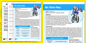 Great British Olympians: Sir Chris Hoy Differentiated Reading Comprehension Activity