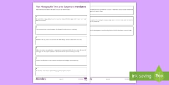 Ideas Translation to Support Teaching on 'War Photographer' by Carole Satyamurti Activity Sheet  - Imagery, poetry analysis, Carole Satyamurti, Edexcel Poetry, GCSE English Literature, Poetry Antholo