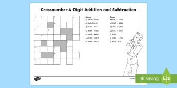 LKS2 Crossnumber 4-Digit Addition and Subtraction Activity Sheet - Add, Subtract, Crossword, Across, Down, Puzzle, Worksheet